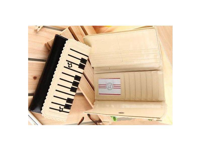 鋼琴鍵潮流卡包蕾絲滾邊中長錢夾卡包
