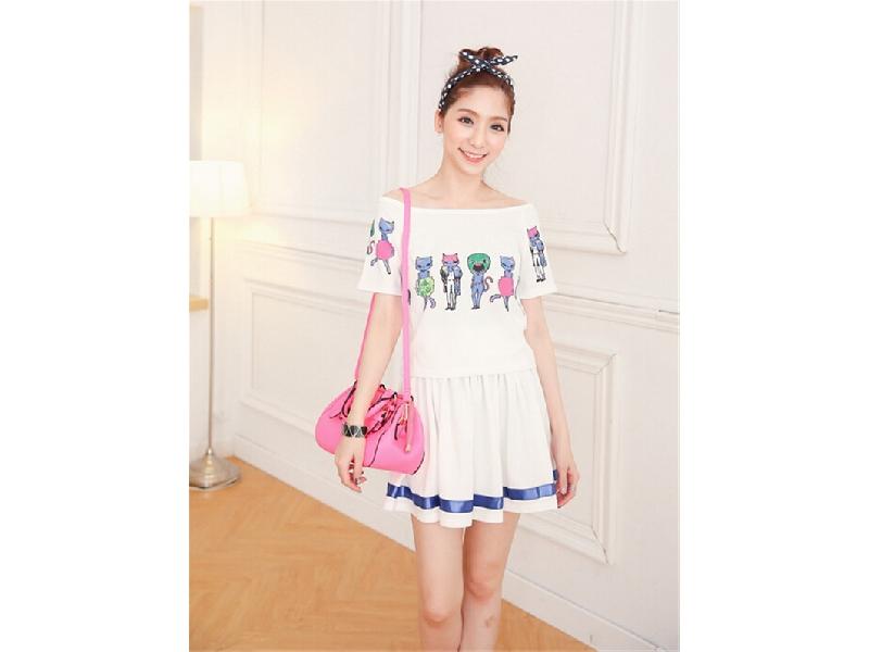 夏裝新款連衣裙套裝喵星人兩穿領T恤+半身裙兩件套裙子(白色)