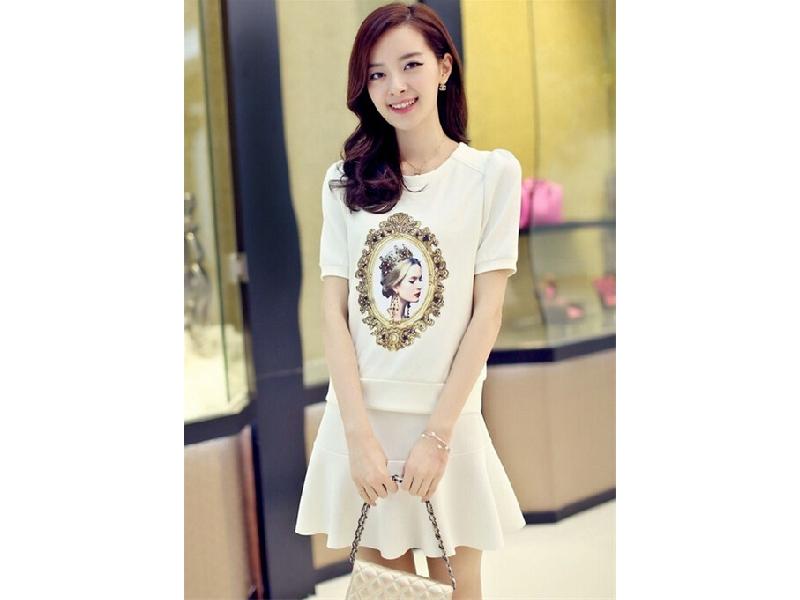 夏季女裝印花套裝 歐美短袖連衣裙【兩件套】(白色)
