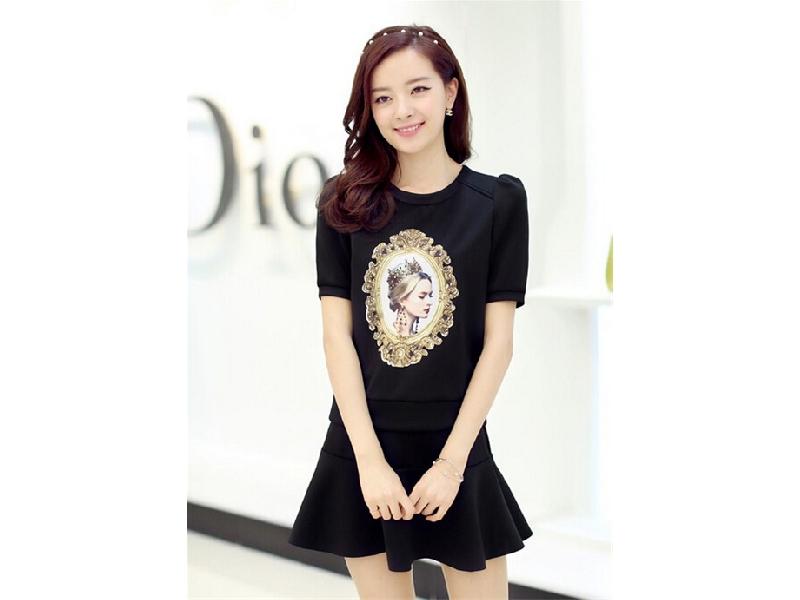 夏季女裝印花套裝 歐美短袖連衣裙【兩件套】(黑色)