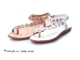 夏季新款平跟女涼鞋 夾腳套趾碎花朵平底鞋韓版女涼鞋