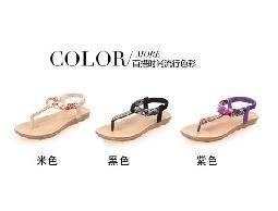 夏季新款韓版清涼女涼鞋 奢華小水鉆人字夾趾人字拖涼鞋