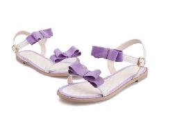 新款韓版蝴蝶結涼鞋女仿真皮韓國女涼鞋夏季歐洲站平底拖鞋潮