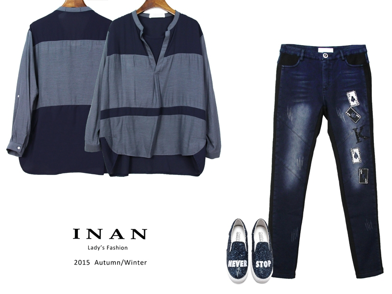 INAN - 假兩件配色雪紡上衣