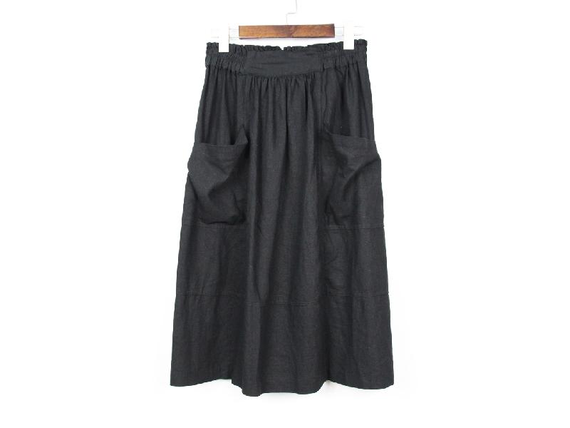 接雙袋腰鬆緊棉麻裙