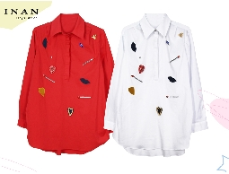 INAN - 布章鑽飾開襟襯衫