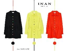 INAN - 彩色釦飾長版襯衫