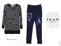 INAN - 黑灰條紋袖釦飾拼接上衣