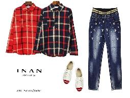INAN - 格紋前口袋棉麻襯衫