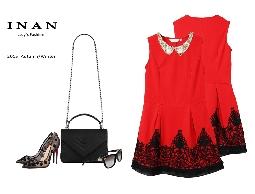 INAN - 領縫珠擺蕾絲背心洋裝