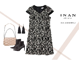 INAN - V領鑽飾黑蕾絲洋裝