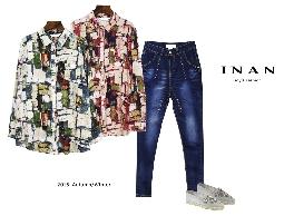 INAN - 前袋袖可調印花襯衫