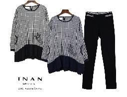 INAN - 小方格紋擺蕾絲襯衫