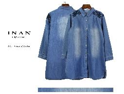 INAN - 肩黑花刺繡牛仔襯衫