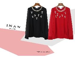 INAN - 圓領縫珠飾雪紡上衣