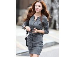 Hg908韓雜誌款拉鏈連身裙