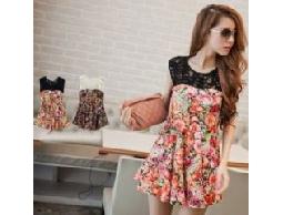 Q7945波西米亞花朵洋裝