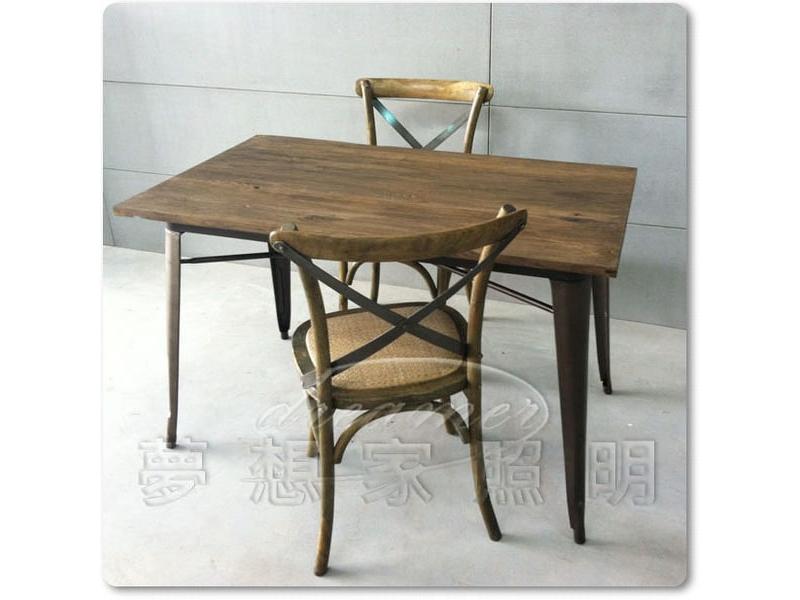【夢想家照明】LOFT 法式復古工業風 實木仿舊色鐵桌 餐桌 工作桌 書桌 長度120公分