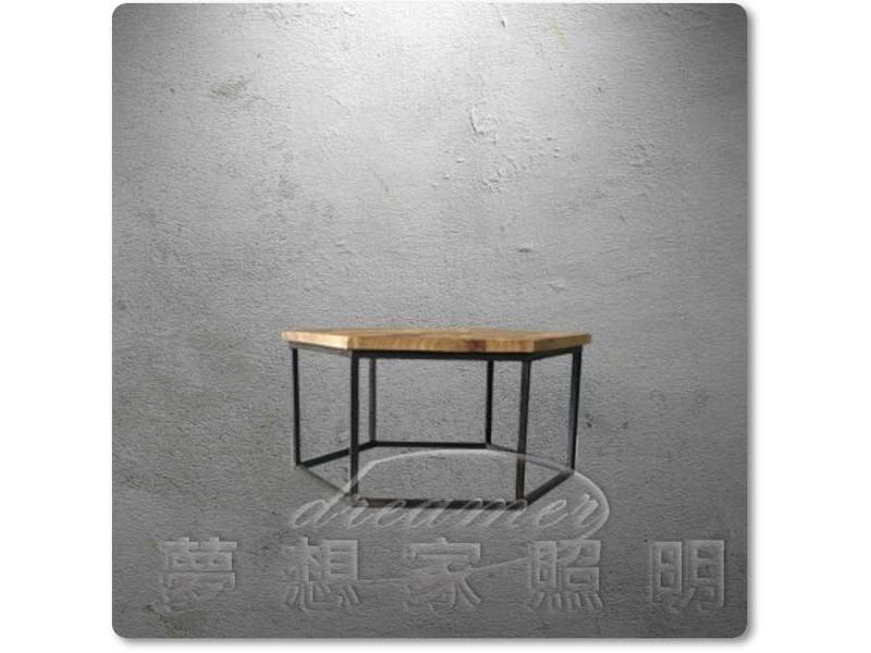 【夢想家照明】 Loft仿古美式鄉村工業復古風 仿古原木六邊型咖啡桌 茶几 小款
