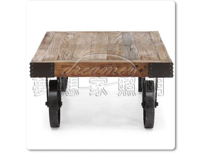 【夢想家照明】LOFT工業風格 實木鑄黑鐵長凳 茶几 咖啡桌 板車茶几 單層 複刻版