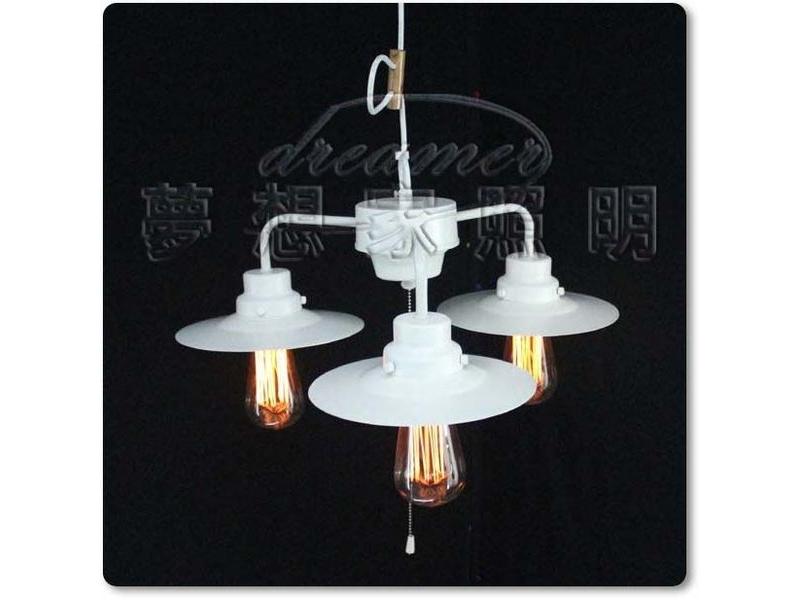 【夢想家照明】Loft仿古工業復古風格 三角直排吊燈 小款 白色 復刻版