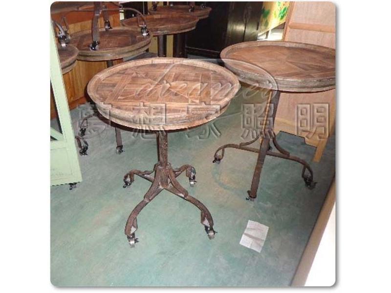 【夢想家照明】Loft工業風 仿古鑄黑鐵實木滾輪 圓桌 茶几 復刻版 DL807020