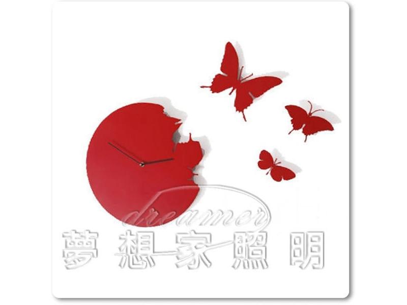 【夢想家照明】設計款 蝴蝶掛鐘/壁鐘造型鐘紅色 復刻版 DL809-111R