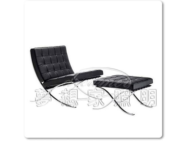 【夢想家照明】巴塞隆納pu皮革沙發椅 含踏墊 黑 復刻版 DL808005-2