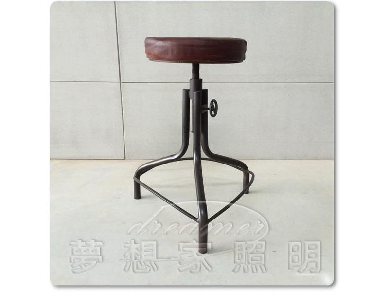 【夢想家照明】美式鄉村 工業復古風 仿舊 真皮 軟墊升降吧檯椅 吧椅 DL806103