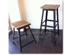 【夢想家照明】LOFT 美式鄉村工業風 復古方形凳吧檯椅 吧台椅 小款 復刻版