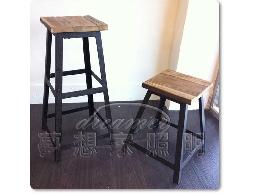 【夢想家照明】LOFT 美式鄉村工業風 復古方形凳吧台椅 吧檯椅 大款 復刻版