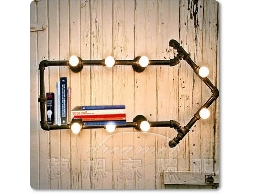 【夢想家照明】美式鄉村金屬箭頭方向壁燈 水管款 可當置物架 書架 DL803-339B