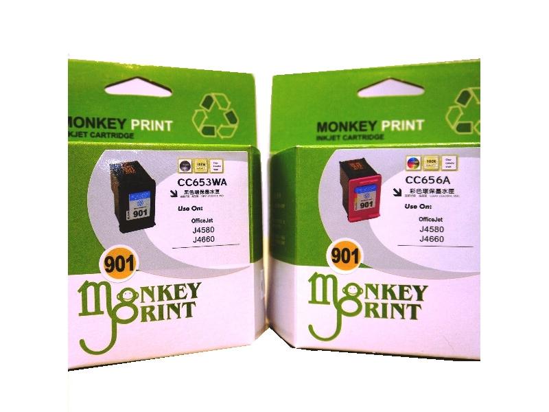 ★Monkey Print★ HP No.901 一黑一彩環保相容墨水匣