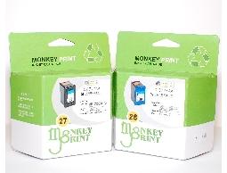 ★Monkey Print★ HP No.27+No.28 一黑一彩環保相容墨水匣