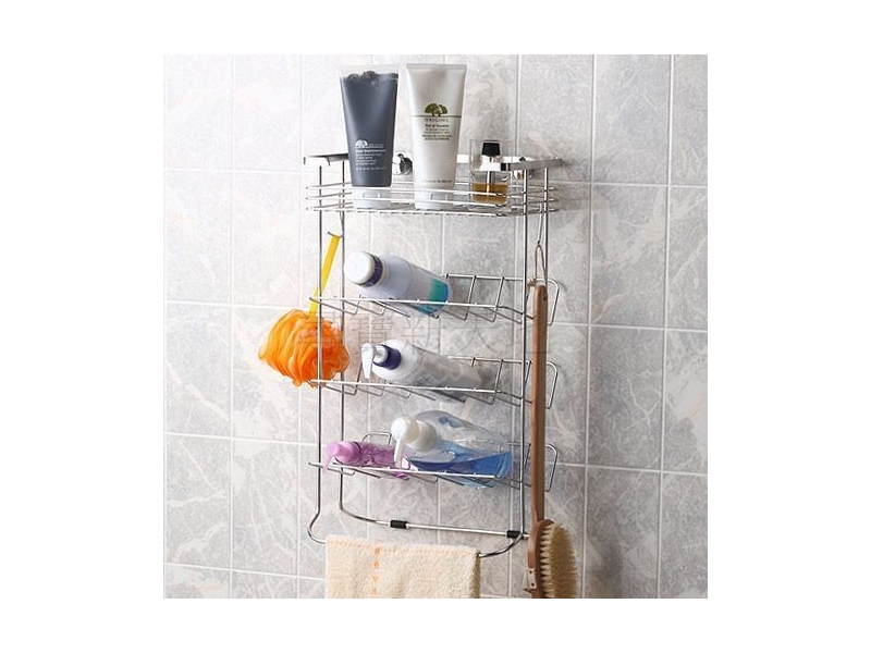 B8白鐵不銹鋼不鏽鋼衛浴室用品沐浴用品不鏽鋼~掛放二用~便利收納棚