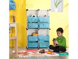 A25彩色方塊抽屜式小朋友兒童玩具箱收納櫃置物架_(藍)(紅)*贈橡膠槌*淡定生活空間