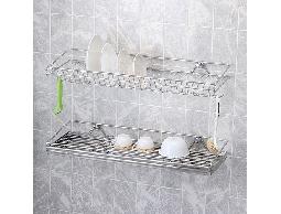 尋寶新天地*B26不鏽鋼廚房用品二層碗盤瀝水架收納架_寬型_杯碗.碟盤清潔整齊不生鏽