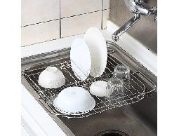 尋寶新天地*B24不銹鋼不鏽鋼居家廚房用品水槽專用伸縮收納架*碗盤架蔬果架瀝水架*不生鏽