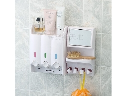 尋寶新天地*C13純白三孔置物架給皂機(附鏡及掛勾)*衛浴用品浴室用品.洗髮精.沐浴乳洗手