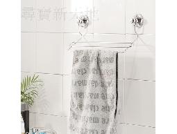 B27白鐵不銹鋼不鏽鋼浴室用品沐浴用品吸盤式毛巾.浴巾吊掛架收納架