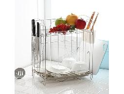 B4白鐵不銹鋼不鏽鋼居家廚房用品.豪華多功能餐具碗盤架瀝水架收納架菜刀架
