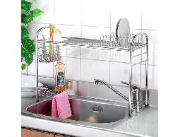 B5白鐵不銹鋼不鏽鋼廚房用品水槽專用伸縮型加高碗盤架收納架瀝水架