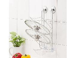 B40白鐵不銹鋼不鏽鋼廚房用品吸盤式三層鍋蓋架吊掛架.附滴水盤