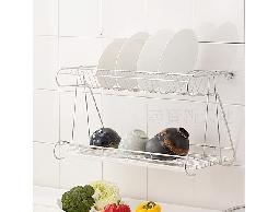 B50白鐵不銹鋼不鏽鋼廚房用品桌上/壁掛多用途碗盤蔬果瀝水架收納架