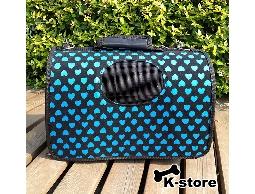 K-store寵物衣服批發【愛心藍寵物手提籠】專賣寵物衣服、狗包、項圈、領結、寵物玩具