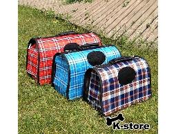 K-store寵物衣服批發【格紋寵物手提籠】專賣寵物衣服、寵物床、寵物屋、寵物窩、領帶