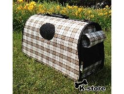 K-store寵物衣服批發【格紋卡其寵物手提籠】專賣寵物衣服、狗包、項圈、領結、寵物玩具