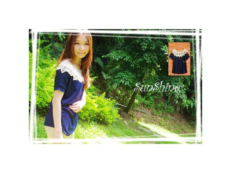 森夏   Sunshine【S1008】鏤空花網蝙蝠袖 實搭 素面上衣✿寶藍《現貨》