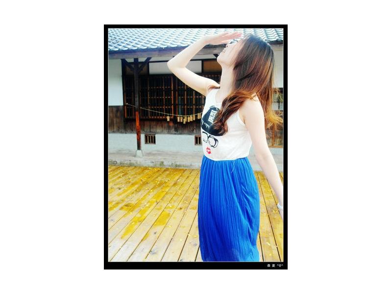 森夏∥Sunshine✿ 人像圖T 拼接連身洋裝 ~ 現貨 白+ 藍 388 實品拍攝 台