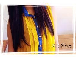 森夏∥Sunshine✿【S10009】單寧拼接雪紡透膚撞色無袖襯衫✿藍 X 薑黃
